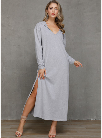 Solid Shift Long Sleeves Maxi Casual Sweatshirt Dresses
