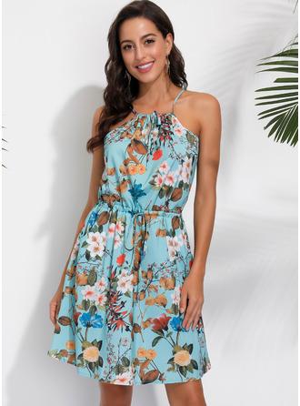 フローラル 印刷 Aラインワンピース ノースリーブ ミニ カジュアル 休暇 タイプ ファッションドレス