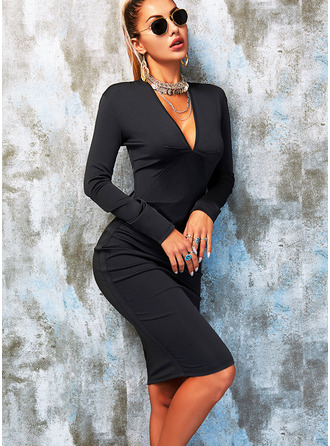 Solide Bodycon Lange Mouwen Medium Zwart jurkje Party Elegant Potlood ()