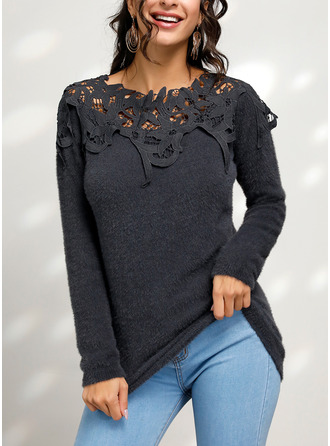 Patchwork Round Neck Long Sleeves Casual