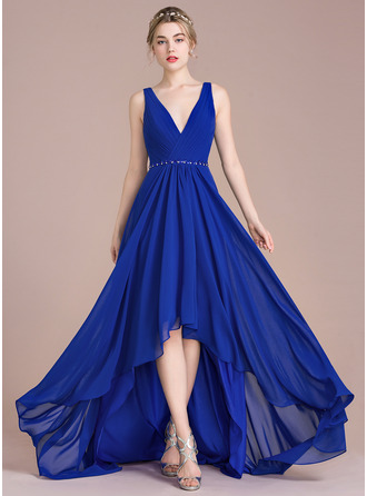 A-Line/Princess V-neck Asymmetrical Chiffon Prom Dress With Ruffle Beading Sequins
