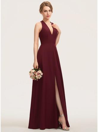 A-Line V-neck Floor-Length Stretch Crepe Bridesmaid Dress With Split Front