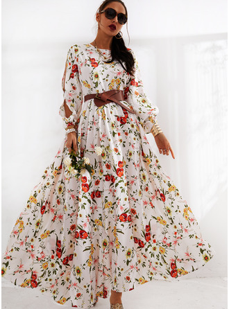 Floral Print A-line Long Sleeves Split Sleeve Maxi Casual Elegant Skater Dresses