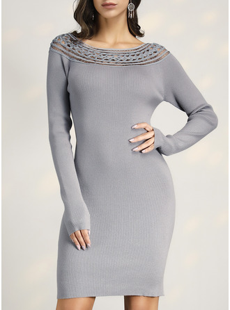 Solid Long Sleeves Casual Sexy Dresses