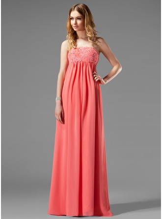 Empire Strapless Floor-Length Chiffon Maternity Bridesmaid Dress With Lace