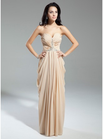 Sheath/Column Sweetheart Floor-Length Chiffon Evening Dress With Ruffle Beading