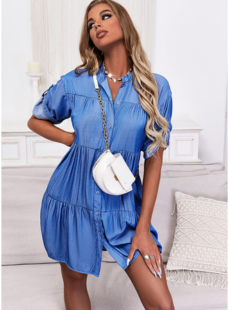 Solid Shift 1/2 Sleeves Mini Casual Shirt Dresses