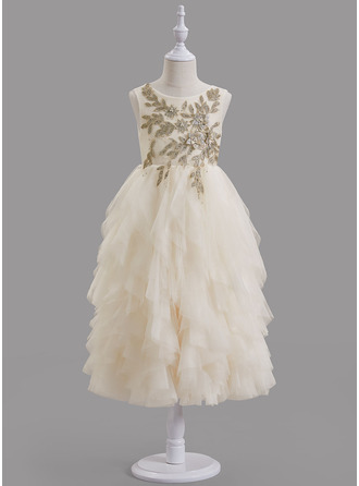 A-Line Scoop Neck Tea-length With Beading/V Back Tulle/Lace Flower Girl Dress