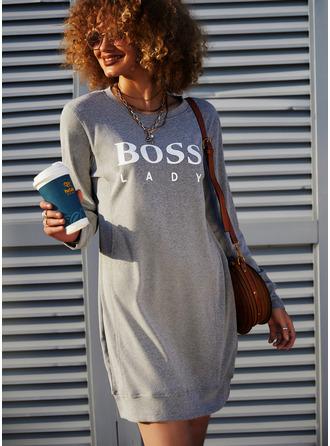 Print Shift Long Sleeves Mini Casual Sweatshirt Dresses (294254057)