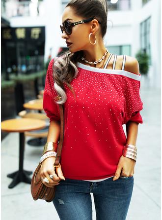Sequins One Shoulder Long Sleeves Sweatshirt (1001254974)