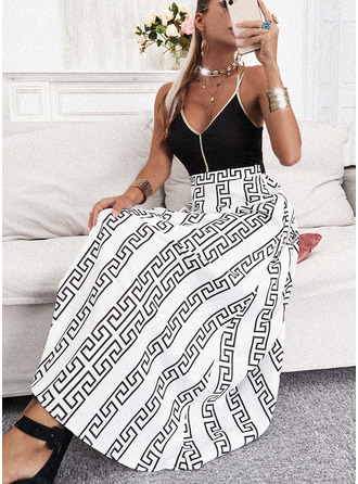 Print Backless A-line Sleeveless Maxi Casual Skater Type Dresses