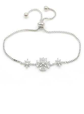 Anti-oxydation Déclaration Bracelets De Mariée Bracelets de demoiselle avec Fleur Zircon cubique -
