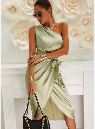 Solid Bodycon Sleeveless Midi Party Dresses