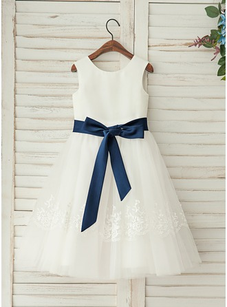 A-Line/Princess Tea-length Flower Girl Dress - Satin/Lace Sleeveless Scoop Neck With Detachable Sash