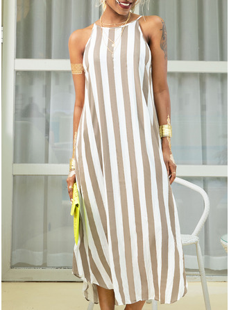 Striped Shift Sleeveless Maxi Casual Vacation Tank Dresses