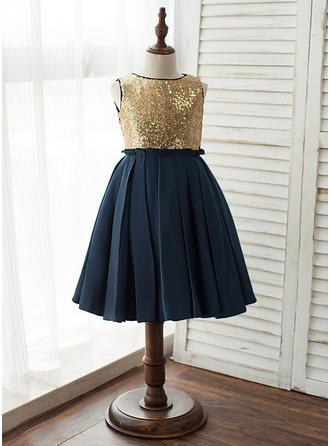 A-Line Knee-length Flower Girl Dress - Satin/Tulle/Sequined Sleeveless Scoop Neck