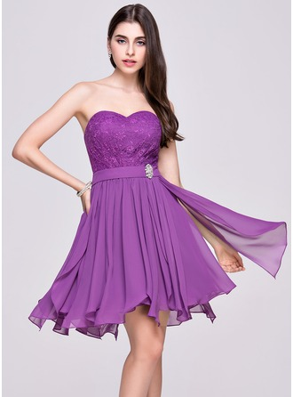 A-Line/Princess Sweetheart Asymmetrical Chiffon Lace Homecoming Dress With Beading Cascading Ruffles