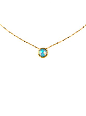 18k Gold Plated Silver Opal Circle Pendant Necklace