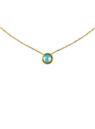 Argento placcato in oro 18 carati Opale Cerchio Collana con ciondolo