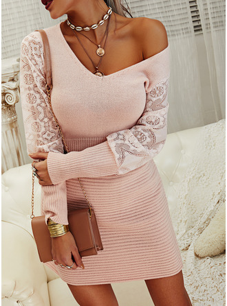 Lace Solid Long Sleeves Casual Long Sweater Dress Dresses