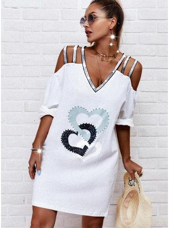 Print Sequins Heart Shift 1/2 Sleeves Midi Casual Tunic Dresses