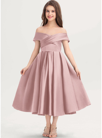 A-Line Off-the-Shoulder Tea-Length Satin Junior Bridesmaid Dress With Ruffle Pockets