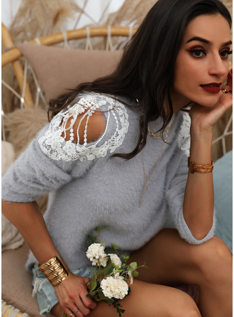 Cold Shoulder Casual Lace Solid Sweaters