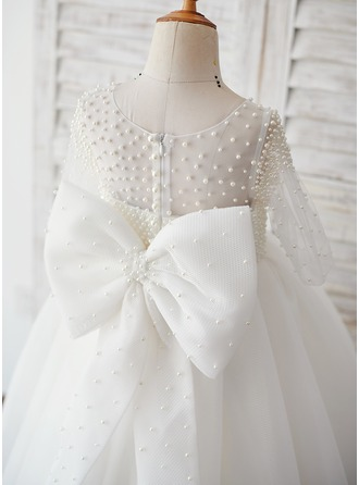 Robe Marquise/Princesse Longueur cheville Robes à Fleurs pour Filles - Tulle 1/2 manches Col rond