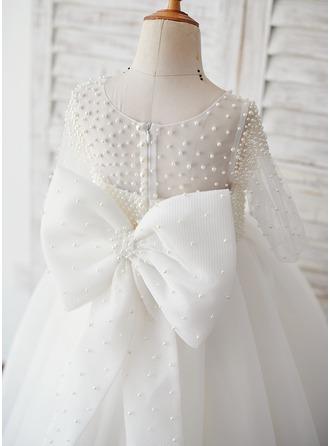 Gala-Japon/Prinses Enkellengte Bloemenmeisjesjurken - Tule 1/2 Mouwen Ronde Hals