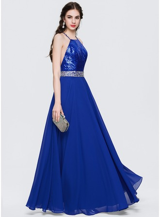 A-Line/Princess Scoop Neck Floor-Length Satin Chiffon Prom Dresses With Beading Sequins