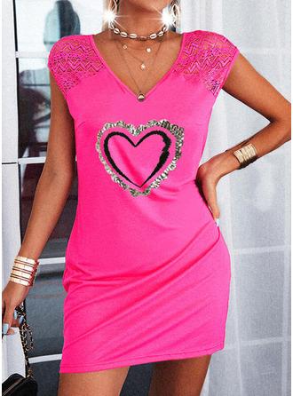 Heart Sheath Mini Casual Dresses