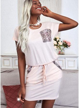 Nadruk Bodycon Krótkie rękawy Mini Nieformalny Modne Suknie