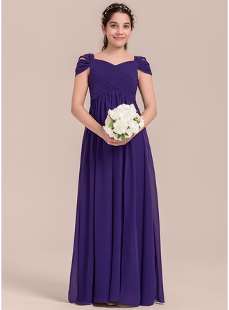 A-Lijn/Prinses V-nek Vloer lengte De Chiffon Junior Bruidsmeisjes Jurk met Roes