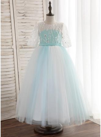 A-Line/Princess Floor-length Flower Girl Dress - Tulle 1/2 Sleeves Scoop Neck With Sash/V Back (Detachable sash)