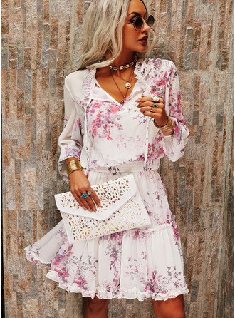 Floral Print A-line 3/4 Sleeves Midi Casual Skater Dresses
