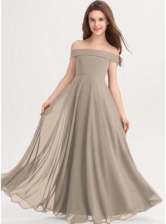 A-linjainen Off--Shoulder Lattiaa hipova pituus Sifonki Nuorten morsiusneito mekko