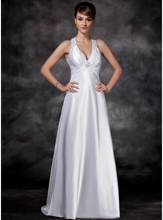 Sheath/Column Halter Sweep Train Charmeuse Wedding Dress With Ruffle Beading