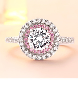 Sterling silver Cubic Zirconia Halo Round Cut Löfte ringar Cocktailringar ()