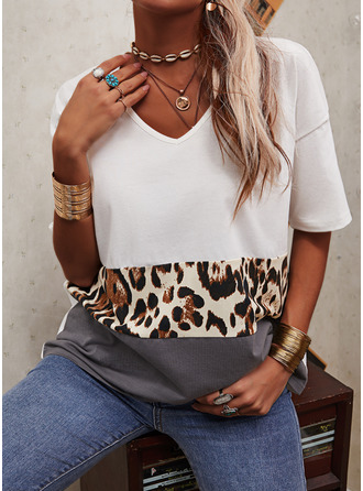 Leopard Color Block V-Neck 1/2 Sleeves Casual Blouses