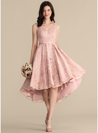 A-Line V-neck Asymmetrical Lace Bridesmaid Dress