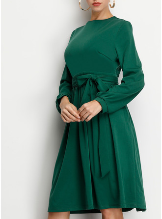 Solid A-line 3/4 Sleeves Midi Casual Elegant Skater Dresses
