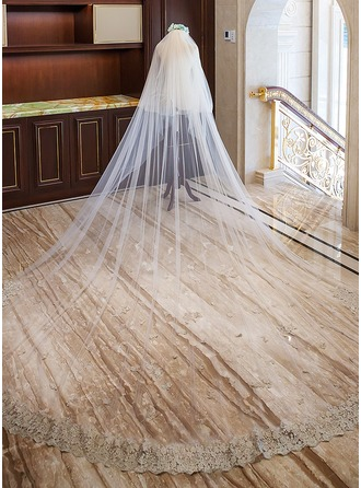 Two-tier Lace Applique Edge Cathedral Bridal Veils With Lace