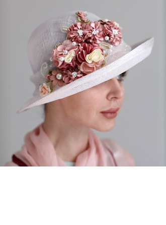Ladies' Glamourous/Handmade/Nice Cambric With Silk Flower/Imitation Pearls Kentucky Derby Hats/Tea Party Hats