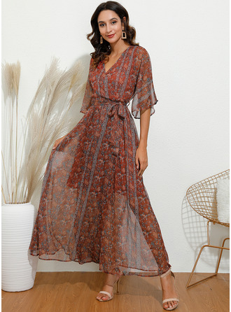 Maxi V neck Polyester Print 3/4 Sleeves Fashion Dresses
