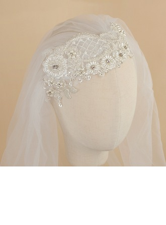 One-tier Cut Edge Elbow Bridal Veils With Rhinestones/Satin Flower/Faux Pearl