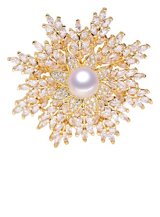 Blomst Formet Legering/Rhinestones/Imitert Perle med Rhinestone/Imitert Perle Damene ' Brosje