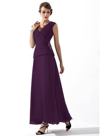 Трапеция/Принцесса V-образный Длина по щиколотку шифон Платье Для Матери Невесты с Рябь Бисер