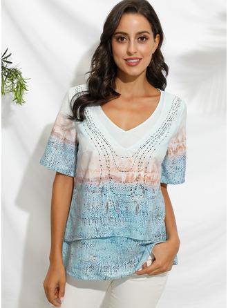 Print Short Sleeves Polyester V Neck Blouses