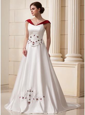 Balklänning Off-shoulder Chapel släp Satäng Bröllopsklänning med Beading Blomma (or)