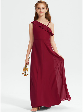 A-Line One-Shoulder Floor-Length Chiffon Junior Bridesmaid Dress With Ruffles